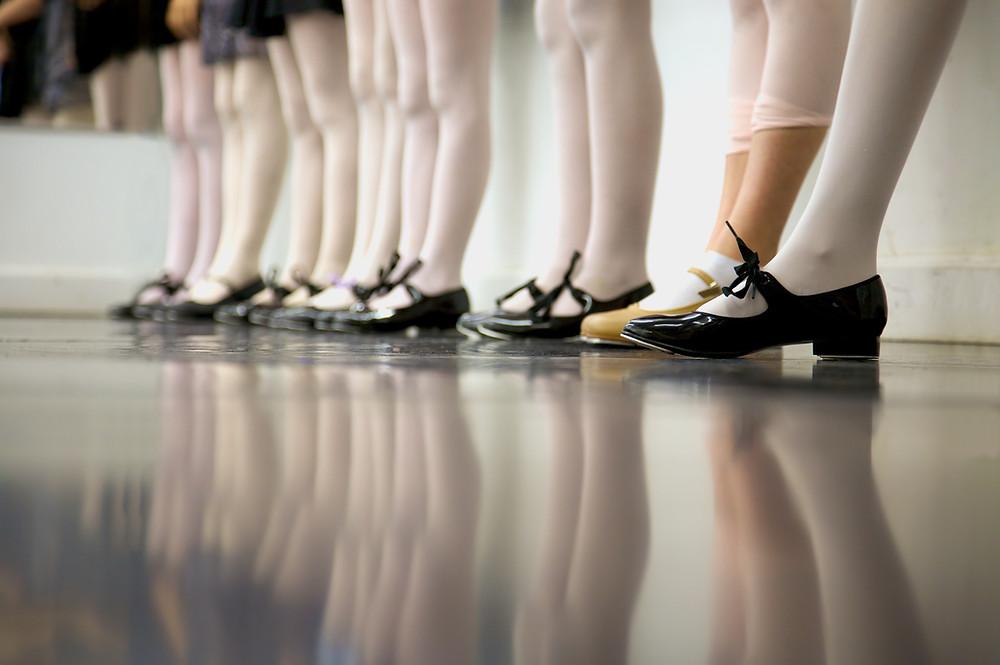 Dancers in a kids tap class.