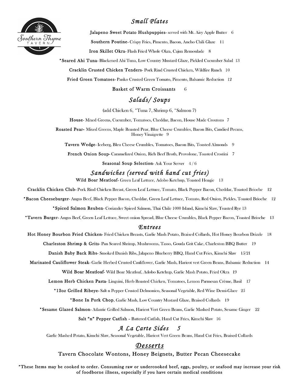 Southern Thyme Tavern to go menu page 2.