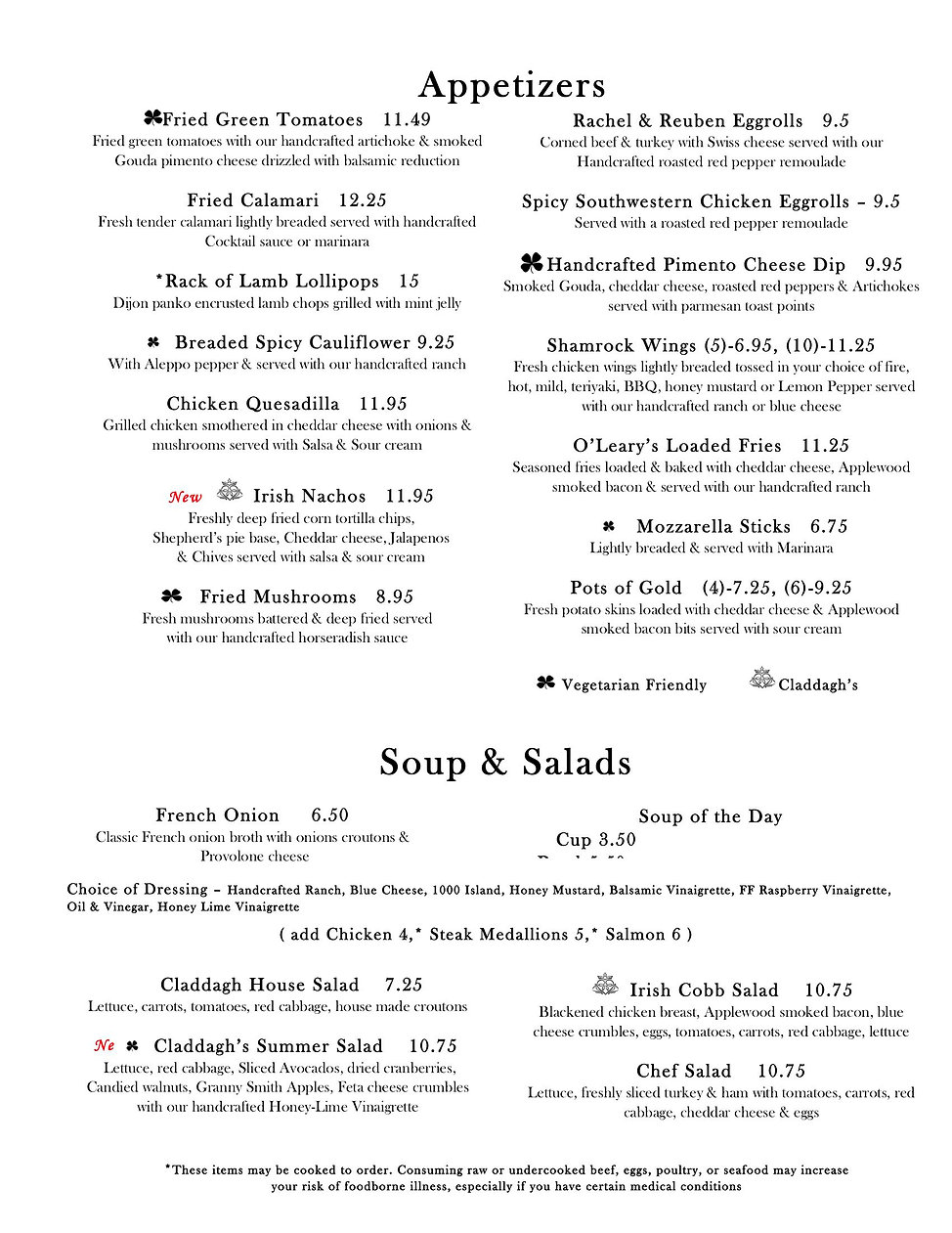 Claddagh High Point New Menu may 2020.jp