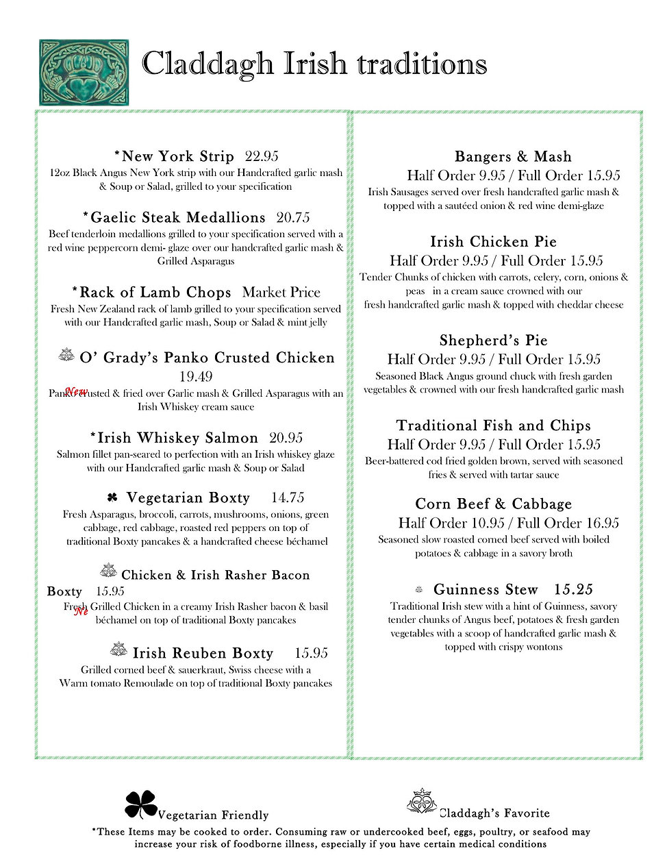 Claddagh High Point New Menu may 20203.j