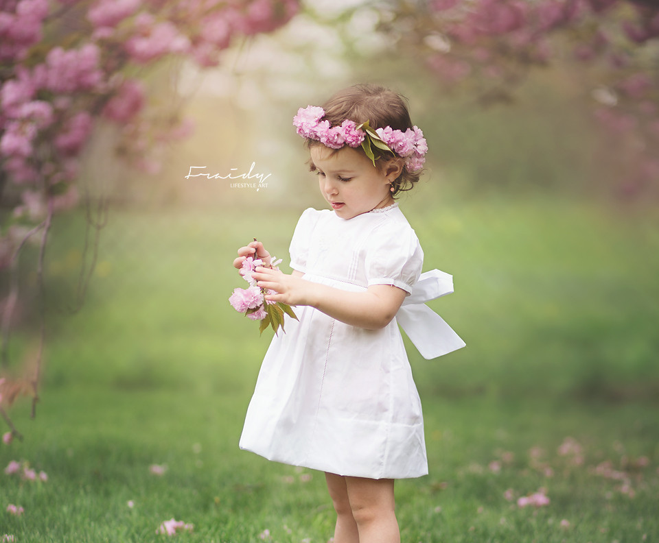 Little Girl in pink DIY flower wreath wearing Feltman Brothers white cotton southern dress with puffed sleeves and bow during a cherry blossom photography session in Monsey, NY by Top NY photographer Fraidy Shimon of Peppermint Photography