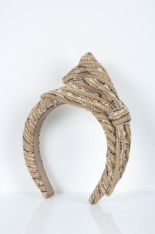 Nude Zebra Bow Headband