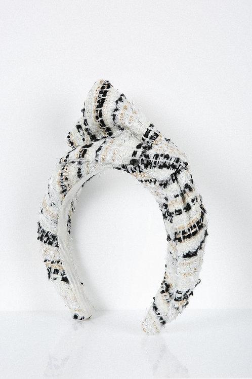 Zebra Tweed Bow Headband