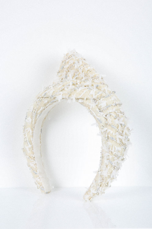 Snow Flake Bow Embroidered Headband
