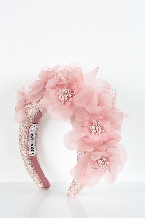 Pink Silk Flower Headband