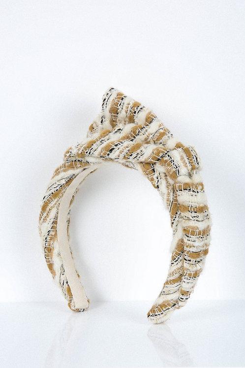 Nude Woolly Tweed Bow Headband