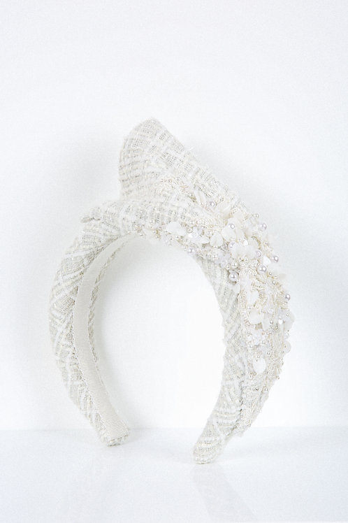 Pearl Shimmer Embroidered Headband