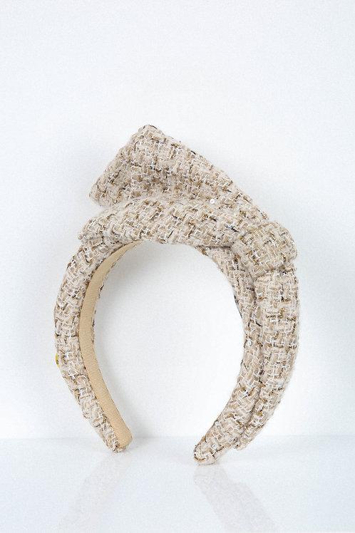 Golden Sand Tweed Bow Headband