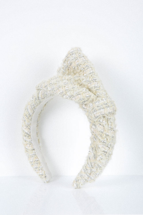 Off-White Woolly Bow Headband
