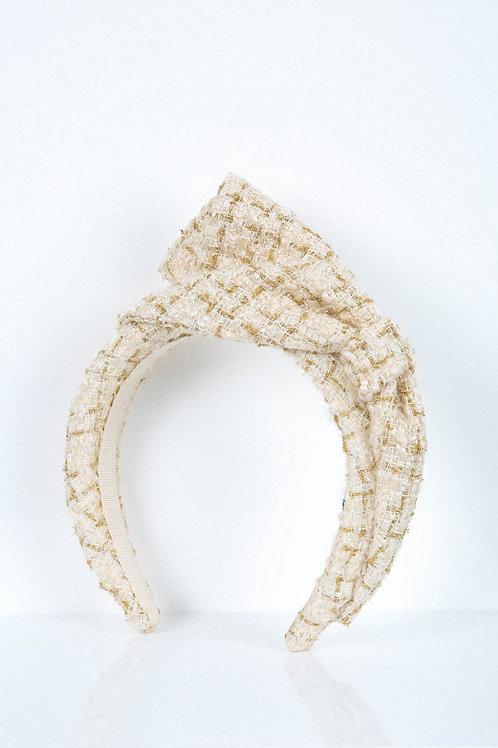 Vanilla Gold Tweed Bow Headband