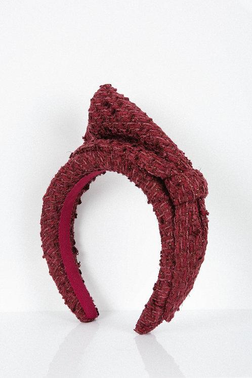 Wine Tweed Bow Headband