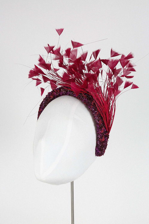 Burgundy Fantasy Feather Headband
