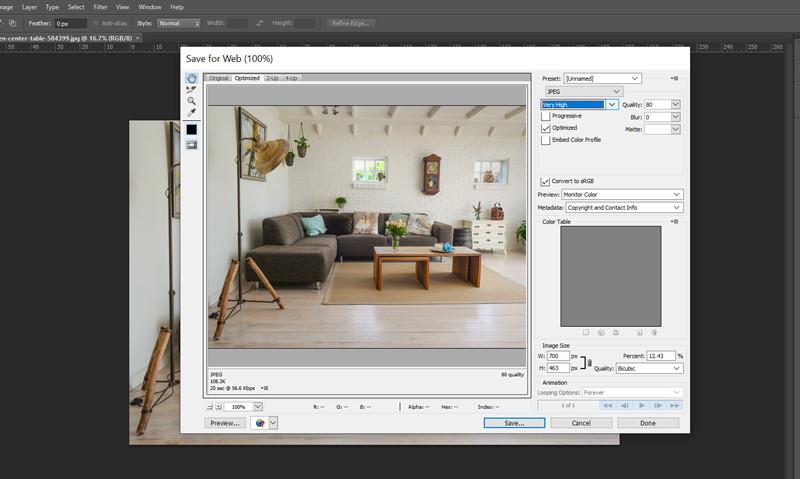 Image optimisation for web in Photoshop