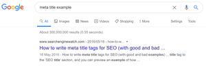 Meta title example in Google search result