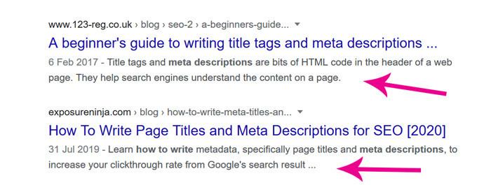 examples of meta descriptions for blog SEO