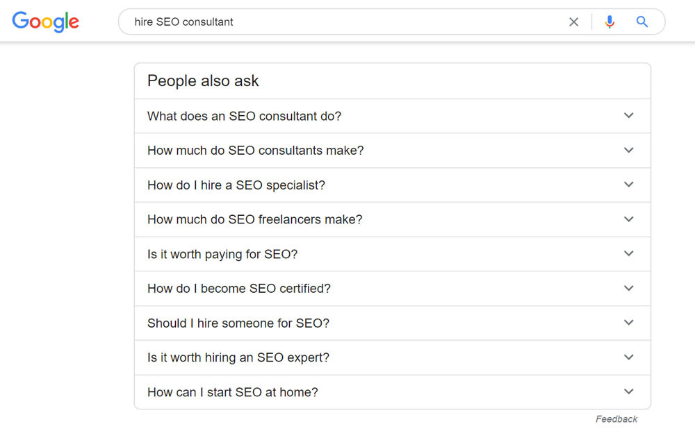 Google questions snippet example for keyword seo consultant