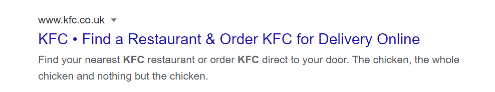 KFC meta title and description example in Google results