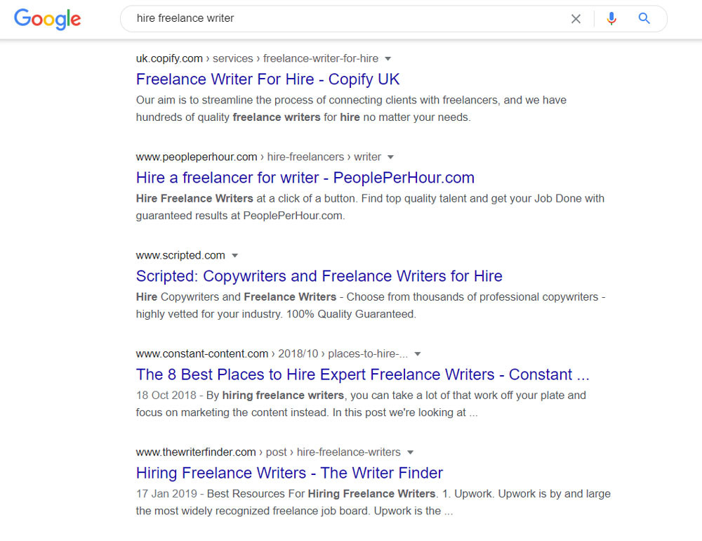 SEO keyword search intent example - hire freelance writer