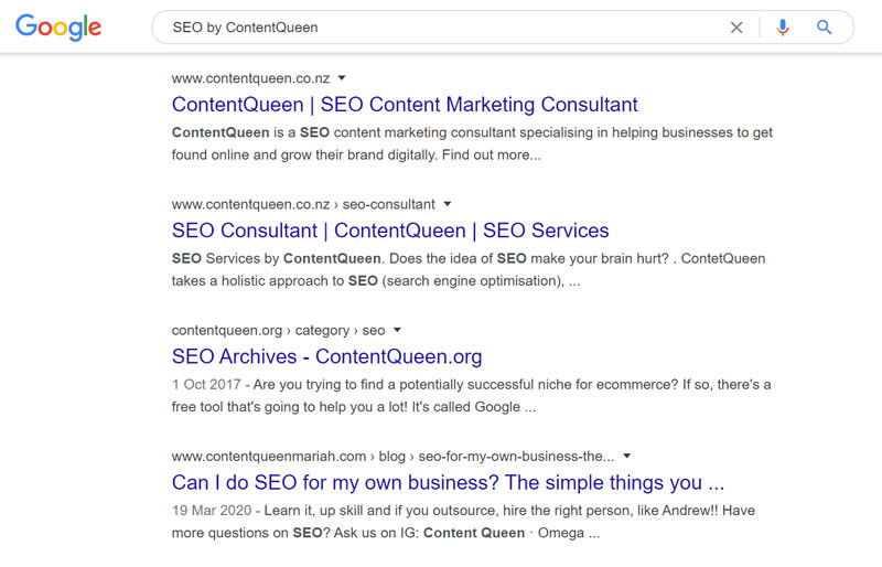 Branded keyword SEO search engine result example