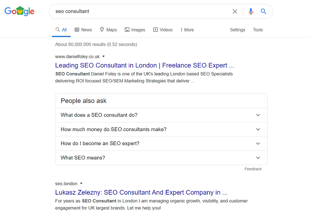 Search engine results for seo consultant