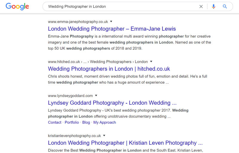 non-branded keyword search engine result example