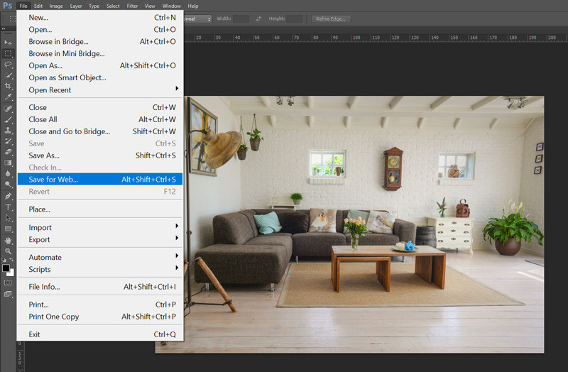 How to export images for the web in Photoshop