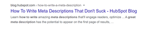 How to write meta descriptions that don't such SERP example