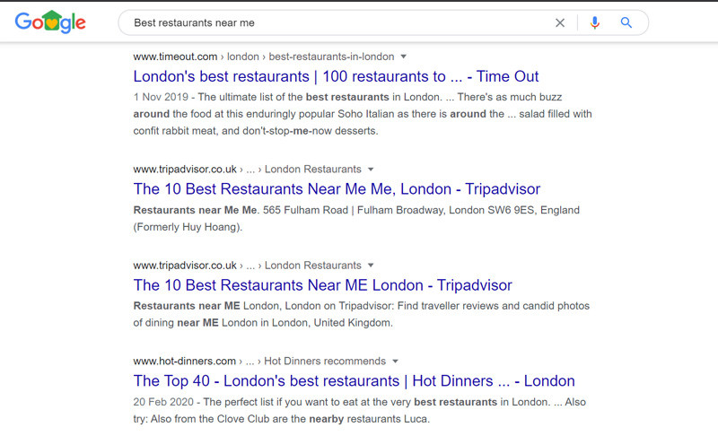 Meta data for Google search result page