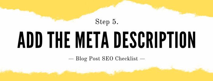 How to seo a blog post Step 5: Add a Meta Description