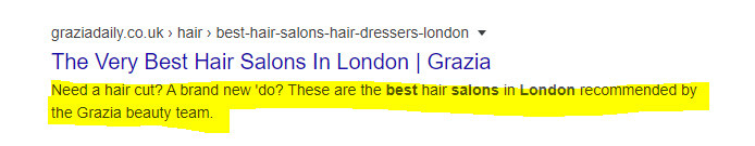 Example of a meta description in search engine results