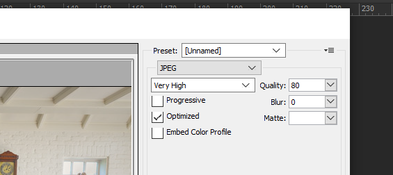 How to change image compression quality in Photoshop