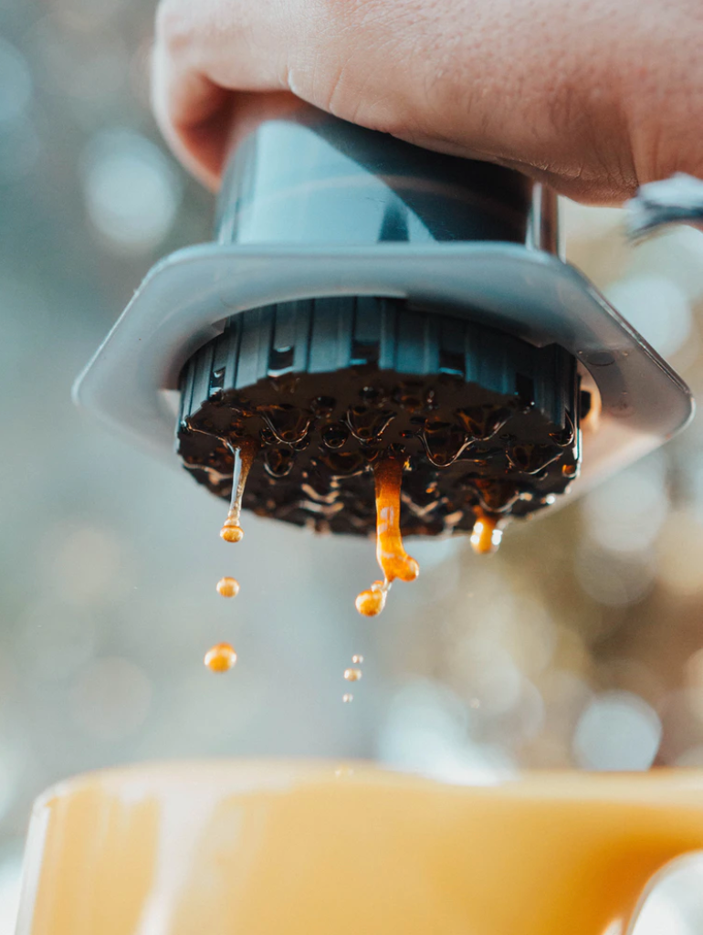 Aeropress making coffee