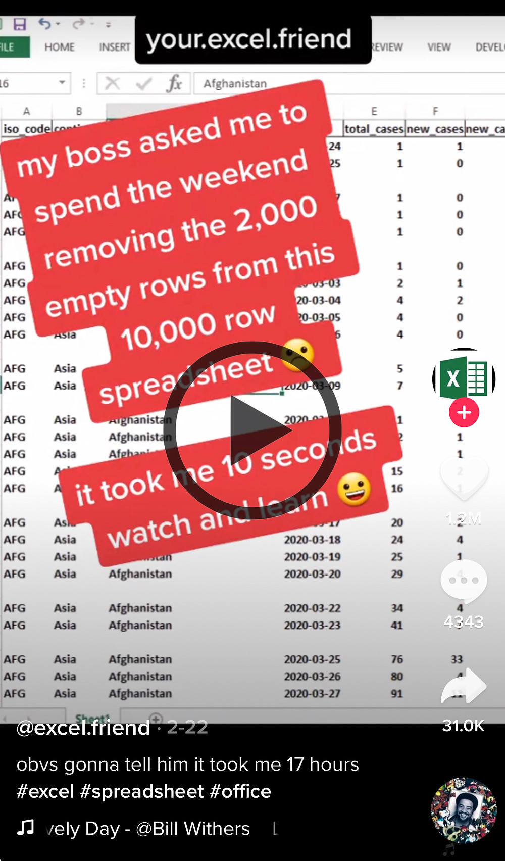A screenshot of a TikTok of an account that does Excel tips
