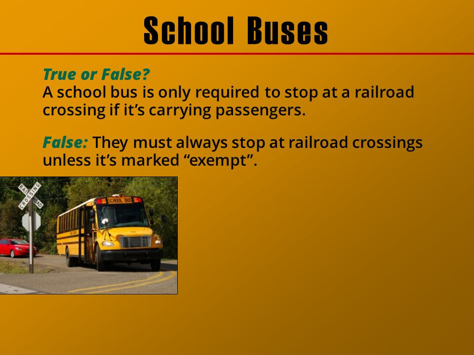 Nevada School Buses Stop at All RR Crossing