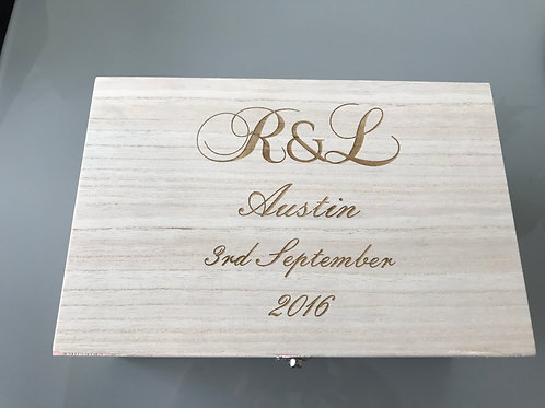 Personalised Wedding Gift Box With 2 Personalised Champagne Flutes