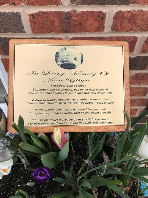 Personalised Memorial Plaque.