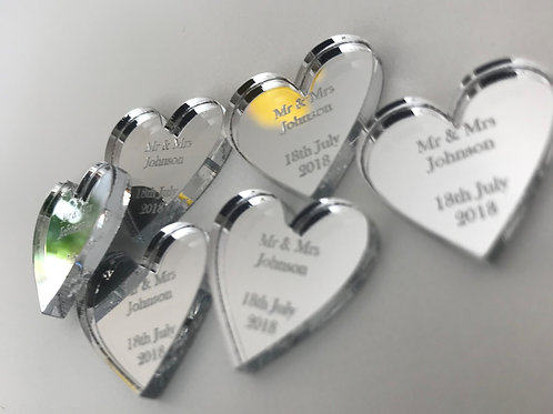 Personalised Mr & Mrs Love Hearts Wedding Table Decorations