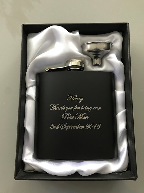 Personalised Black 6oz Hip Flask In Gift Box