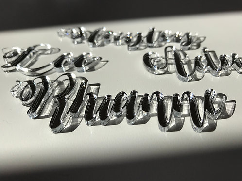 Personalised Mirrored Acrylic Place Names.