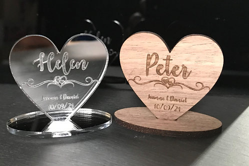 Personalised free standing wedding table place names.