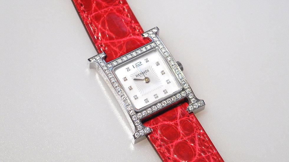 HERMES - Bracelet montre H diamants et bracelet crocodile
