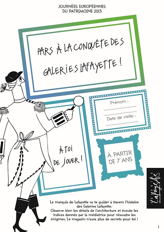 Activity leaflet for children at Galeries Lafayette 2013