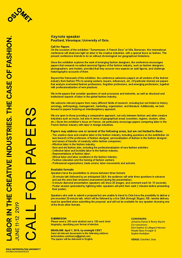 CFP. Labor in the Creative Industries: The Case of Fahion
