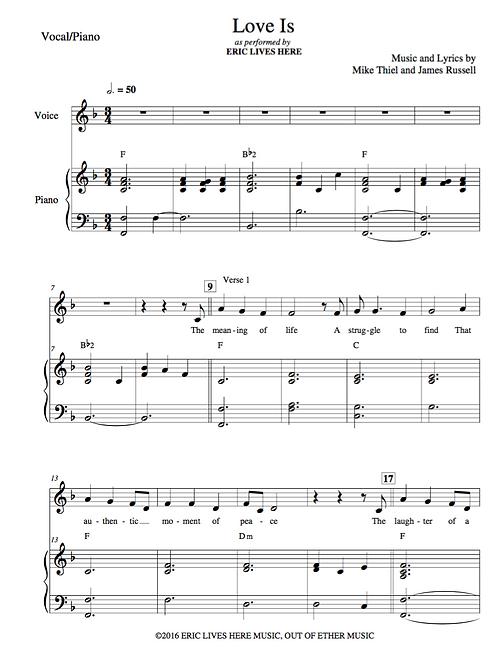 """Love Is"" Piano Sheet Music"