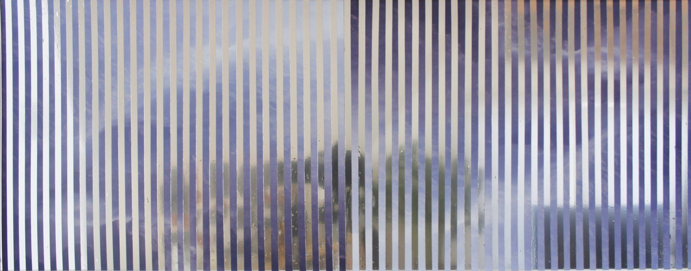 nowhere/now here (blue smoke), photographs on aluminum, mylar tape, 11 x 28 inches