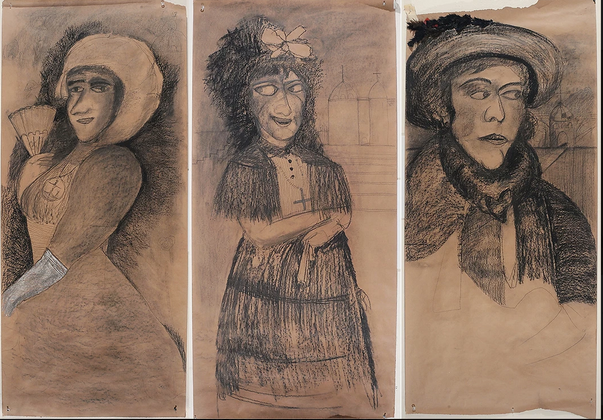 Tres Marquesas (after Goya), charcoal on craft paper, 70 x 36 inches each