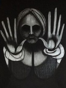 Halt, charcoal on paper, 96 x 42 inches