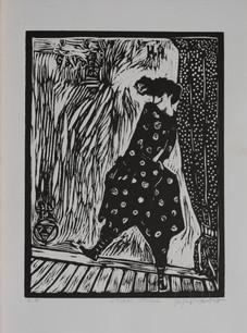 Storm Strolll (Black), woodcut, 12 x 9 inches