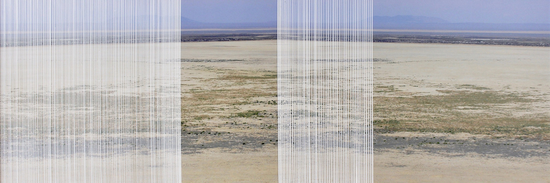 nowhere/now here (dry valley), acrylic, photographs printed on aluminum, 20 x 60 inches