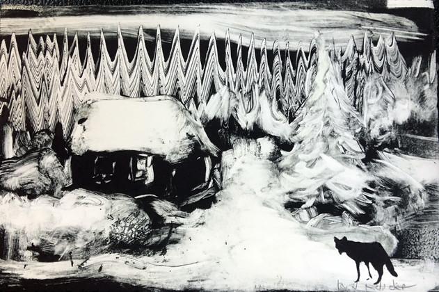 Winter, monotype, 8 x 12 inches